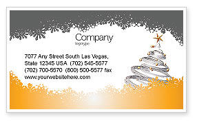 Holiday/Special Occasion: New Year Tree Business Card Template #04174