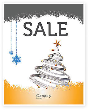 Holiday/Special Occasion: New Year Tree Sale Poster Template #04174