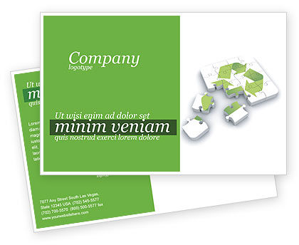 Recycle Technology Postcard Template, 04181, Business Concepts — PoweredTemplate.com