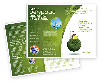 Green Planetoid Brochure Template, 04184, Nature & Environment — PoweredTemplate.com
