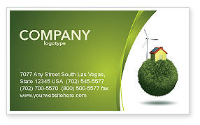 Green Planetoid Business Card Template, 04184, Nature & Environment — PoweredTemplate.com