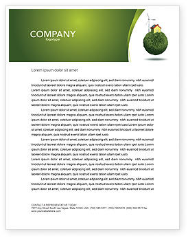 Nature & Environment: Green Planetoid Letterhead Template #04184
