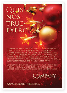 Holiday/Special Occasion: Red Christmas Theme Ad Template #04186