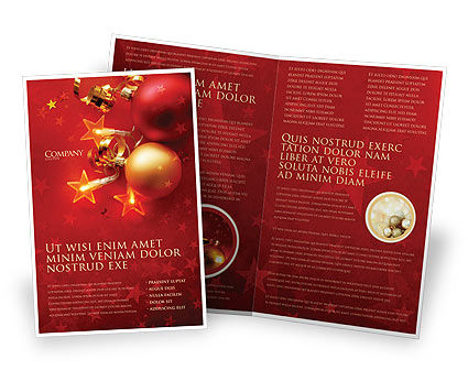 Holiday/Special Occasion: Red Christmas Theme Brochure Template #04186