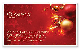 Holiday/Special Occasion: Red Christmas Theme Business Card Template #04186
