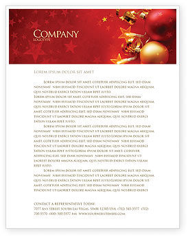 Red Christmas Theme Letterhead Template, 04186, Holiday/Special Occasion — PoweredTemplate.com