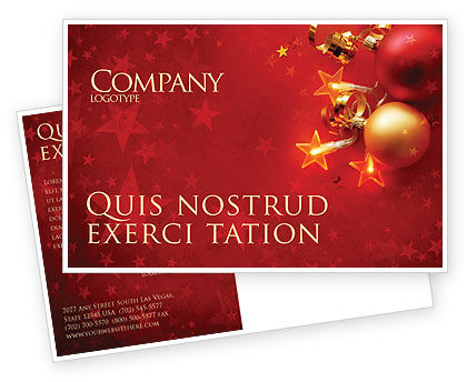 Holiday/Special Occasion: Red Christmas Theme Postcard Template #04186