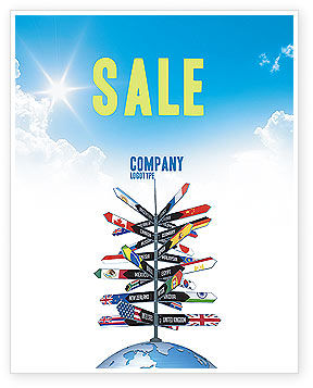Travel Directions Sale Poster Template, 04196, Global — PoweredTemplate.com