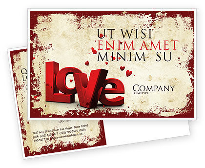 Holiday/Special Occasion: Christmas Love Postcard Template #04198