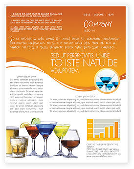 Strong Drinks Newsletter Template, 04199, Food & Beverage — PoweredTemplate.com