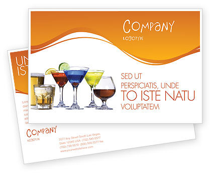 Strong Drinks Postcard Template, 04199, Food & Beverage — PoweredTemplate.com
