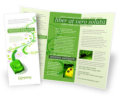 Green Car Brochure Template, 04204, Nature & Environment — PoweredTemplate.com