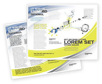 Device Connection Brochure Template, 04209, Technology, Science & Computers — PoweredTemplate.com