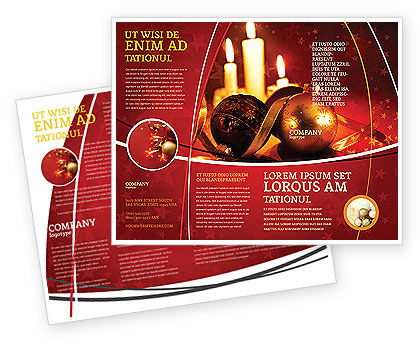 Christmas decorations and candles brochure template design for Christmas brochure template
