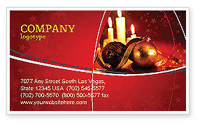 Holiday/Special Occasion: Christmas Decorations And Candles Business Card Template #04211