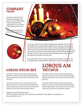 Holiday/Special Occasion: Christmas Decorations And Candles Flyer Template #04211