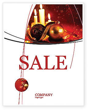 Holiday/Special Occasion: Christmas Decorations And Candles Sale Poster Template #04211