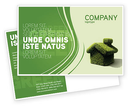 Nature & Environment: Green House Postcard Template #04215