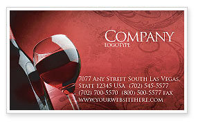Wine Glass Business Card Template, 04235, Food & Beverage — PoweredTemplate.com