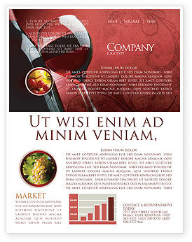 Wine Glass Newsletter Template, 04235, Food & Beverage — PoweredTemplate.com