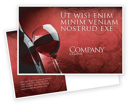 Wine Glass Postcard Template, 04235, Food & Beverage — PoweredTemplate.com