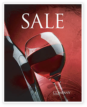 Wine Glass Sale Poster Template, 04235, Food & Beverage — PoweredTemplate.com