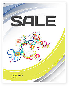 Mp3 Player On Colored Background Sale Poster Template, 04242, Technology, Science & Computers — PoweredTemplate.com