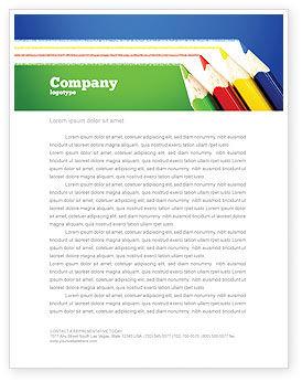 Education & Training: Plantilla de membrete - líneas de lápices de colores #04251