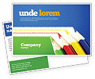 Education & Training: Color Pencils Lines Postcard Template #04251