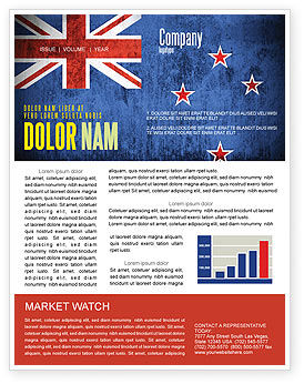 Flags/International: New Zealand Newsletter Template #04258