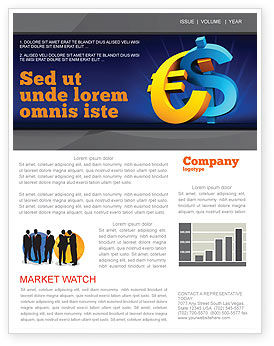 Euro vs. Dollar Newsletter Template, 04268, Financial/Accounting — PoweredTemplate.com