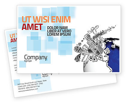 Global: Modern Civilization Postcard Template #04309