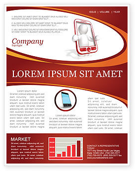 Wireless Phones Newsletter Template, 04312, Telecommunication — PoweredTemplate.com