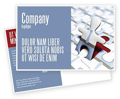 Business: Jigsaw Man Postcard Template #04332
