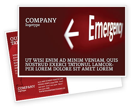 Emergency Sign Postcard Template, 04341, Business Concepts — PoweredTemplate.com