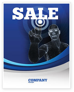 Push the Button Sale Poster Template, 04342, Technology, Science & Computers — PoweredTemplate.com