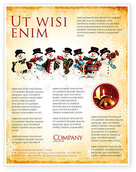 Snowmen Orchestra Flyer Template, 04354, Holiday/Special Occasion — PoweredTemplate.com