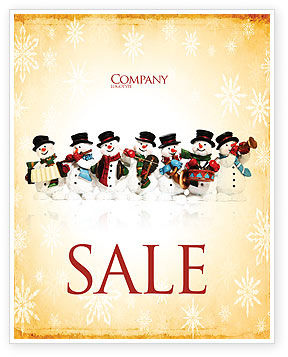 Holiday/Special Occasion: Snowmen Orchestra Sale Poster Template #04354