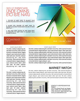 Color Paper Newsletter Template, 04355, Business — PoweredTemplate.com