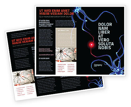 Communicating Neurons Brochure Template, 04356, Medical — PoweredTemplate.com