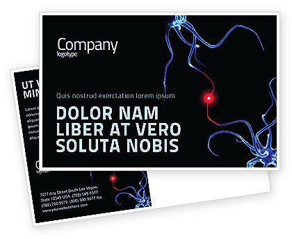 Medical: Communicating Neurons Postcard Template #04356