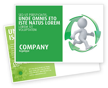 Business Concepts: Recycling Circle Postcard Template #04362