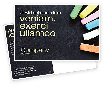 Chalk Postcard Template, 04365, Education & Training — PoweredTemplate.com