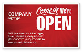 Careers/Industry: We Are Open Business Card Template #04405