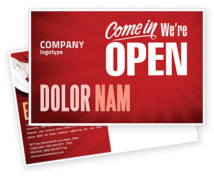Careers/Industry: We Are Open Postcard Template #04405