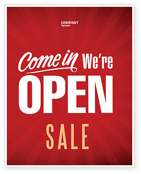 We Are Open Sale Poster Template, 04405, Careers/Industry — PoweredTemplate.com
