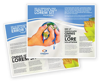 Resource Depletion Brochure Template, 04406, Global — PoweredTemplate.com