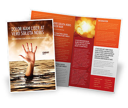 Drowning Brochure Template, 04407, Consulting — PoweredTemplate.com