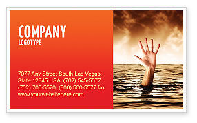 Drowning Business Card Template, 04407, Consulting — PoweredTemplate.com