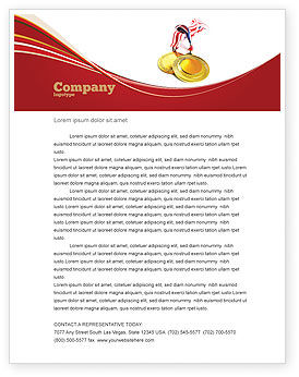 Sports: Medal Letterhead Template #04414